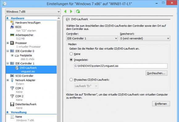 DVD-Laufwerke von VMs in Hyper-V Manager verwalten