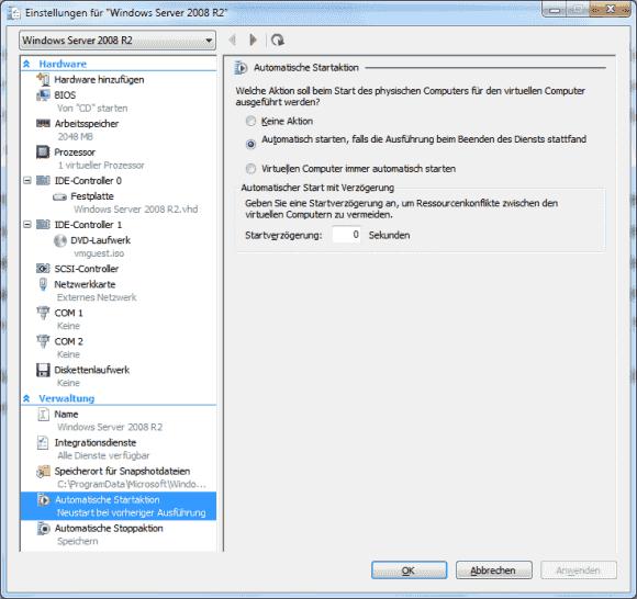 Den Start von VMs nach einem Reboot des Hosts kann man über 3 Optionen und zeitliche Verzögerungen steuern.