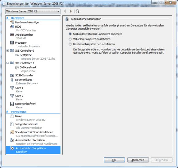 Unter Stoppaktionen finden sich 2 Varianten des Ausschaltens sowie die Option, die VM im aktuellen Status fortzusetzen.