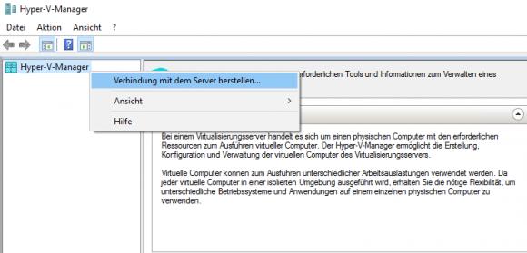 Verbindung mit Server herstellen im Hyper-V Manager