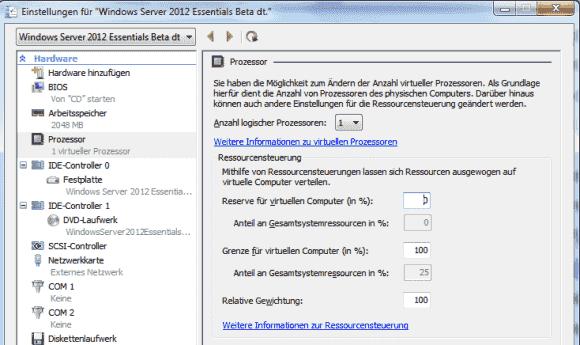 Im Hyper-V Manager kann man Ober- und Untergrenzen für die verfügbare Rechenleistung einer VM festlegen.
