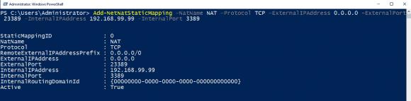 Einrichten von Port Forwarding für RDP mit Hilfe von Add-NetNatStaticMapping.