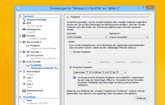 Wenn man ein Laufwerk auf Host-Ebene offline genommen hat, dann steht es in einer VM für den exklusiven Zugriff zur Verfügung.