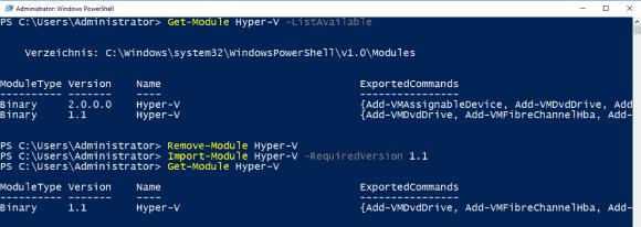 Wenn man Hosts mit verschiedenen Versionen von Hyper-V verwalten möchte, dann sieht PowerShell dafür separate Module vor.