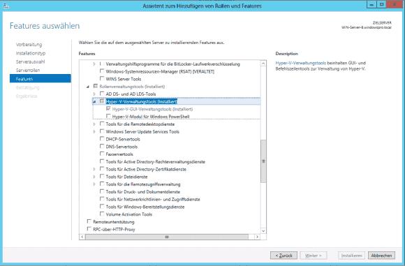 Das Powershell-Modul für Hyper-V lässt sich als Feature über den Server Manager installieren.