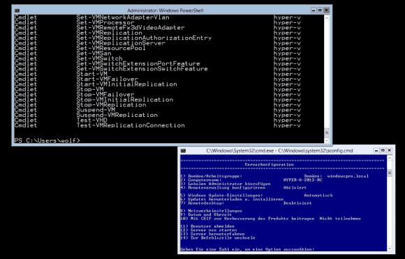 Spartanisches Interface: Für die lokale Verwaltung des Servers stehen die Kommandozeile, sconfig und PowerShell zur Verfügung.