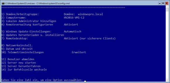 Der Basiskonfiguration von Hyper-V Server 2016 dient sconfig