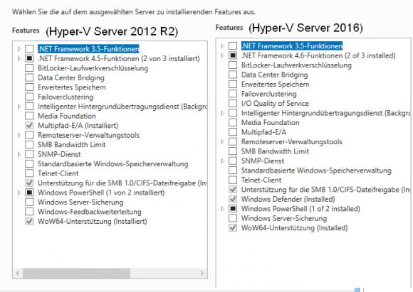 Feature-Vergleich zwischen Hyper-V Server 2012 R2 und 2016