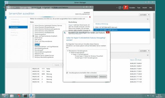 Der Server Manager in Windows Server 2012 installiert nicht nur Hyper-V, sondern bei Bedarf auch die Verwaltungs-Tools.