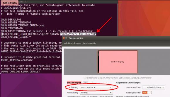 Unter Linux muss man die Konfiguration von GRUB anpassen, um die Bildschirmauflösung zu ändern.