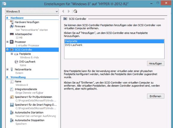 VMs der Generation 2 unterstützen nur mehr SCSI-Controller, IDE fehlt. DVD-Laufwerke müssen nachträglich hinzugefügt werden.