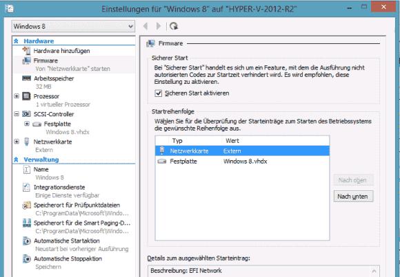 Die Konfiguration von UEFI im Hyper-V Manager beschränkt sich auf Secure Boot und die Startreihenfolge.