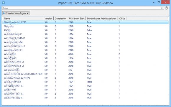 Ausgabe der CSV-Daten mit Out-GridView