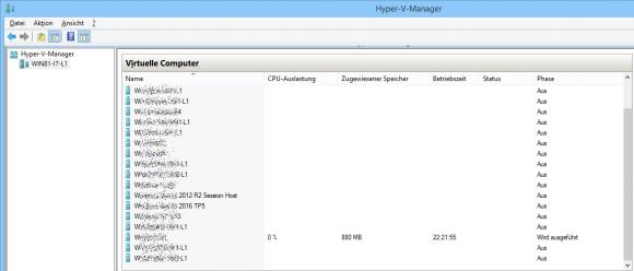 Infos zu virtuellen Maschinen im Hyper-V Manager