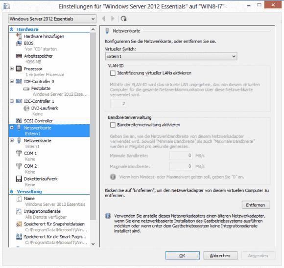 In den Netzwerkeinstellungen einer VM kann man eine andere VLAN-ID wählen als jene, die im vSwitch eingetragen wurde.