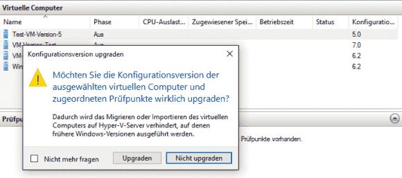 Der Hyper-V Manager warnt davor, dass ein Downgrade nicht möglich ist.