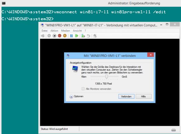 Hat man die Auflösung für den erweiterten Sitzungsmodus gespeichert, dann muss man vmconnect aufrufen, um sie zu ändern.