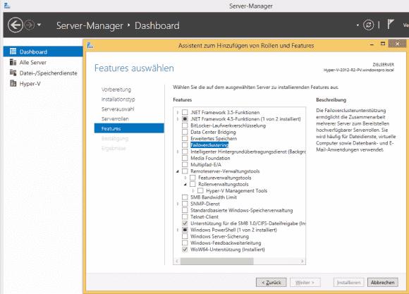 Der kostenlose Hyper-V Server 2012 R2 enthält ein reduziertes Windows mit einigen Rollen und Features.