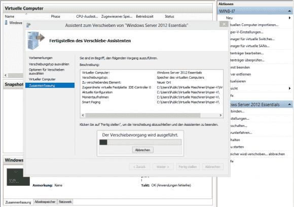 Unter Windows 8 und Server 2012 lassen sich die Daten einer laufenden VM an einen neuen Ort umziehen.