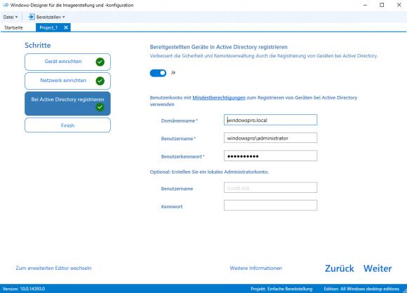 Angaben für den Domain Join im ICD-Wizard.