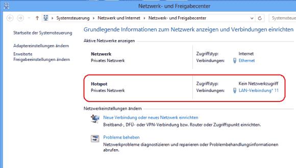 Nach Ausführung der netsh-Befehle zeigt die Systemsteuerung ein neues Netzwerk an.