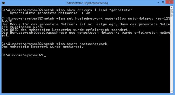 Die Basiskonfiguration von ICS erfolgt auf der Kommandozeile über netsh.exe.