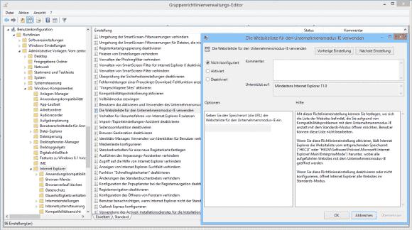 Über Gruppenrichtlinien kann man zudem festlegen, von wo der IE die URL-Liste für den Enterprise Mode einlesen soll.