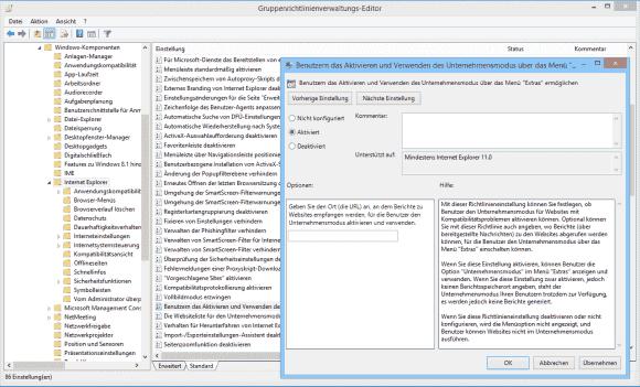 Bevor der Enterprise Mode für Benutzer zur Verfügung steht, muss er über GPOs aktiviert werden.