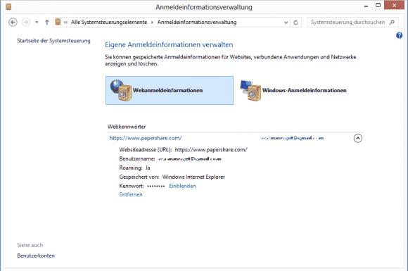 Um Web-Kennwörter auszulesen, die im IE10 unter Windows 8 gespeichert wurden, braucht man kein externes Tools mehr.
