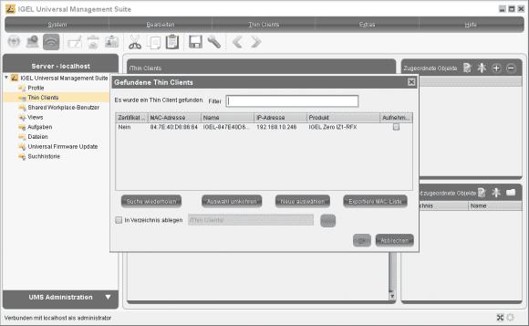 Die Universal Management Suite kann alle im Netz vorhandenen IGEL-Geräte erfassen.