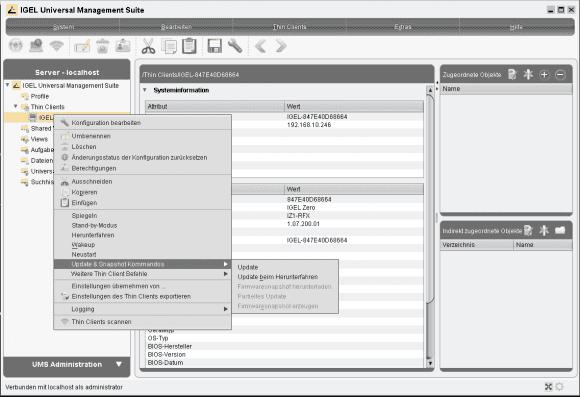 UMS kann Zero Clients zentral verwalten und dabei etwa auch die erforderlichen Updates einspielen.
