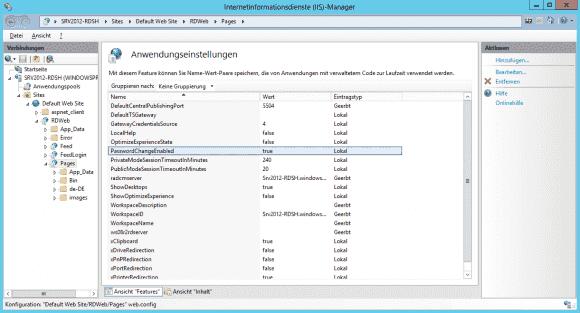 Das Web-Formular zum Ändern des Passworts muss erst im IIS Manager freigeschaltet werden.