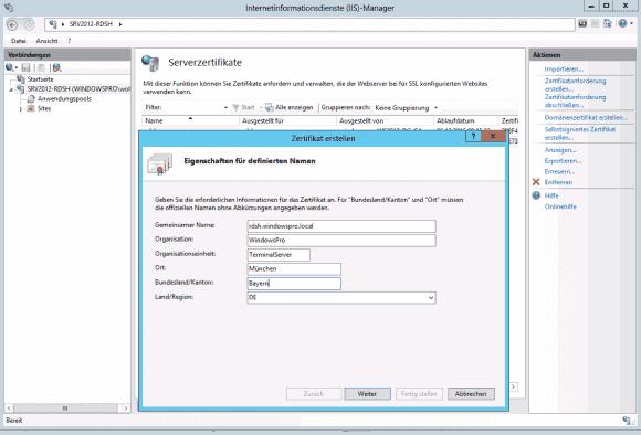 IM IIS-Manager kann man auf Basis des WebServer-Templates ein Domänenzertifikat erstellen.