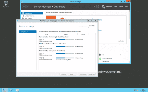 Im letzten Schritt werden die RDS-Rollen auf allen ausgewählten Server installiert.