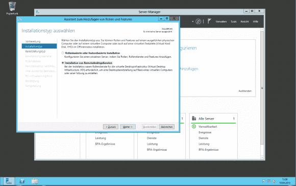 Der Wizard des Server Manager ist für die Installation der Terminaldienste und virtueller Desktops zuständig.