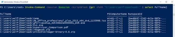Anzeigen von Dateien auf einem Remote-PC mit Invoke-Command und Get-ChilItem.
