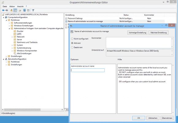 Verwendet man anstatt des eingebauten Administrators ein alternatives Konto, dann kann man LAPS dieses hier mitteilen.