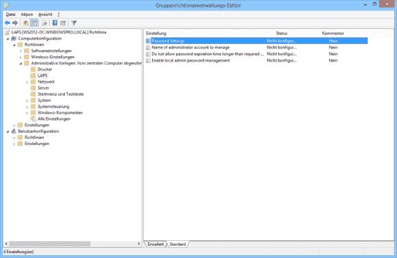 LAPS erweitert den GPO-Editor um vier zusätzliche Einstellungen.