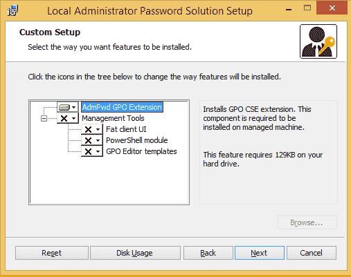 Standardmäßig installiert LAPS nur die Client Side Extension für Group Policy.