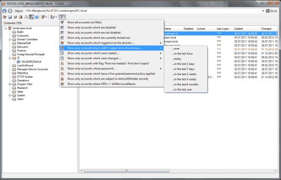 Lumax bietet eine ganze Reihe von Filtern, um ausgewählte Konten anzuzeigen.
