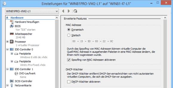 Hyper-V bietet MAC-Spoofing als Standard-Feature für alle VMs.