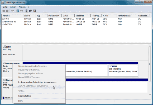 Die Datenträgerverwaltung kann Laufwerke von MBR nach GPT konvertieren, wenn zuvor alle Partitionen gelöscht wurden.