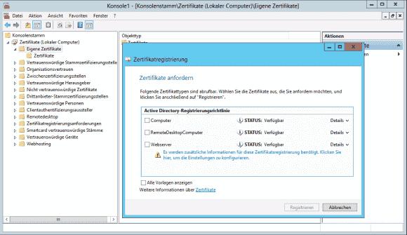 Das Template Webserver eignet sich generell für die Server-Authentifizierung.