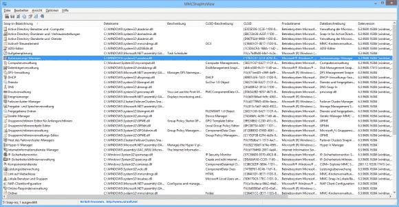MMCSnapInsView zeigt alle auf dem Computer installierten Snap-ins für MMC.