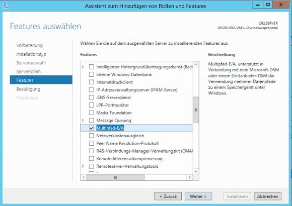 MPIO muss als eigenes Feature installiert werden, entweder über den Server Manager oder PowerShell.