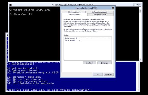 MPIO und das zugehörige Applet für die Konfiguration stehen auch unter Hyper-V Server zur Verfügung.