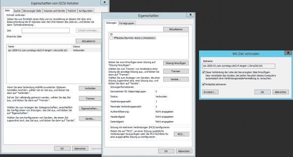 """Für die MPIO-Konfiguration öffnet man unter """"Ziele"""" den Dialog """"Eigenschaften"""" und dann """"Sitzung hinzufügen""""."""