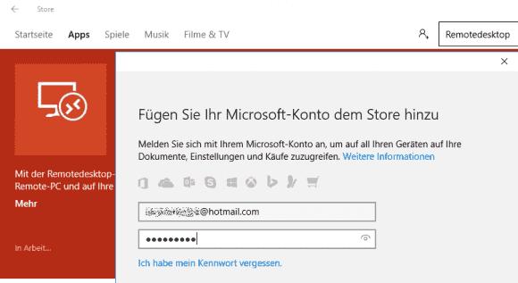 Die Store App lässt sich von der Sperre der Microsoft-Konten nicht beeindrucken.