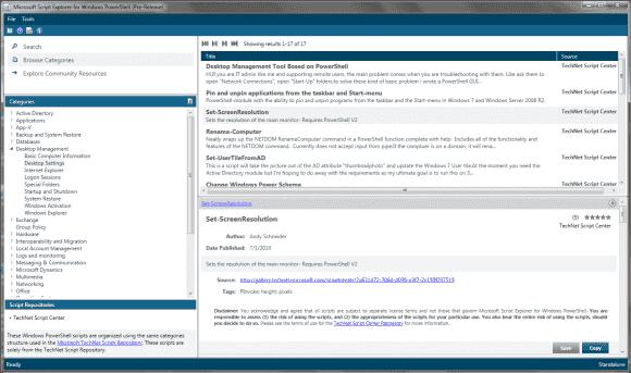 Der Microsoft Script Explorer for Powershell erlaubt die Recherche nach Code mittels Suche oder Navigation in Kategorien.