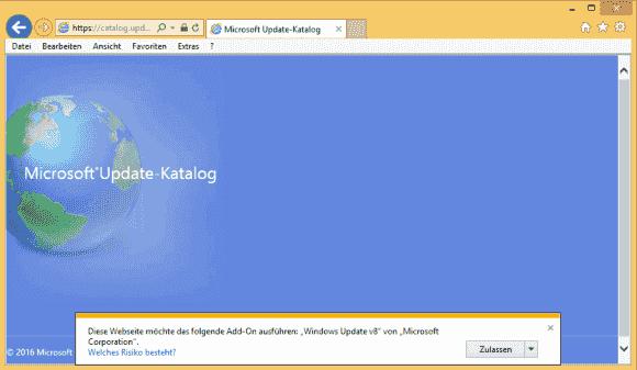 Der Update Catalog erfordert derzeit die Installation eines ActiveX-Controls, eine reine HTML-Option soll es demnächst geben.